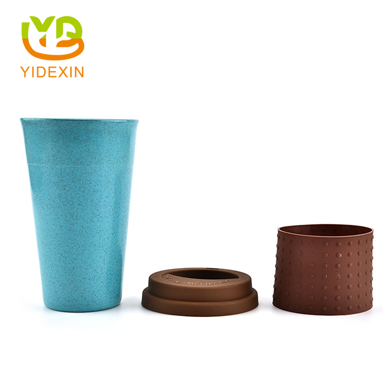 Wheat Fiber Cups with Silicone Sleeve and Lid