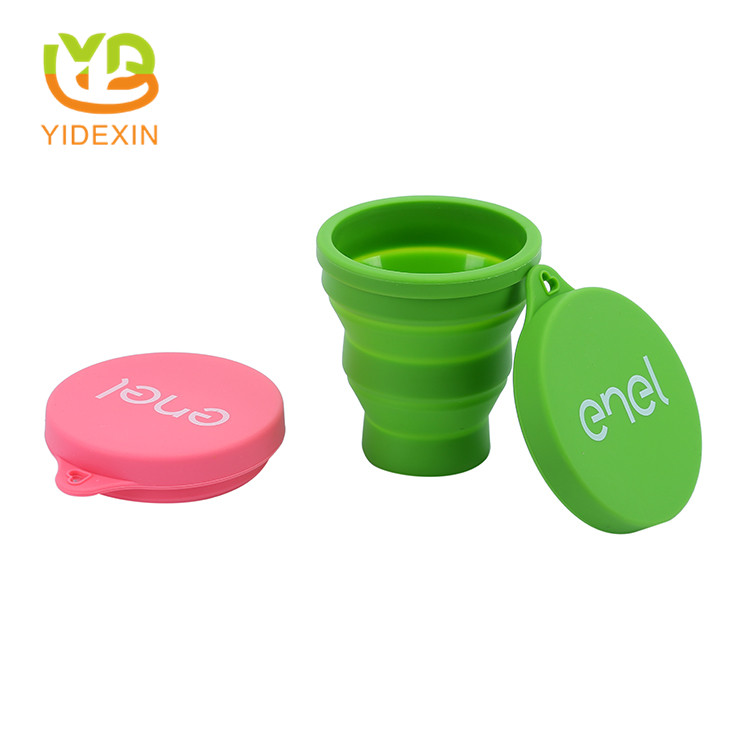 Travel silicone foldable cup with lid